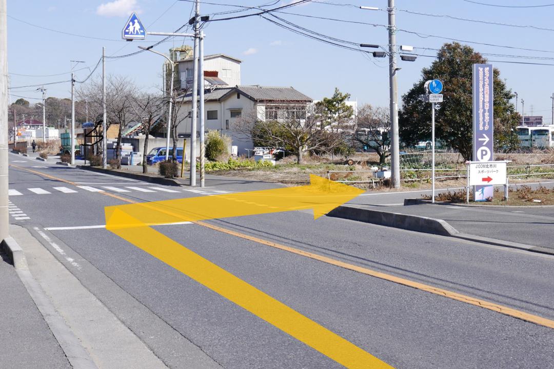 横断歩道の前で右に曲がってください。信号はありません。